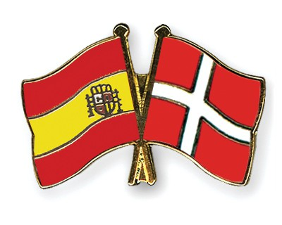 Crossed Flag Pins Spain-Denmark