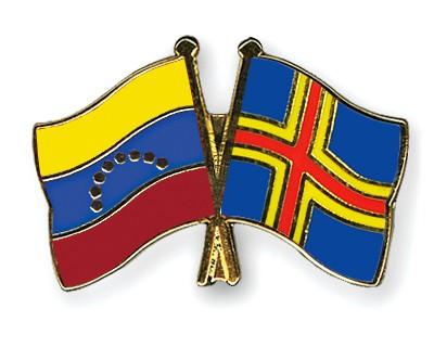 Crossed Flag Pins Venezuela-Aland