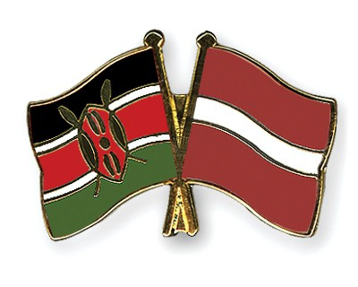 Crossed Flag Pins Kenya-Latvia