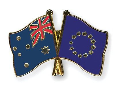 Special Offer Crossed Flag Pins Australia-European-Union