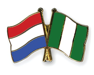 Crossed Flag Pins Netherlands-Nigeria