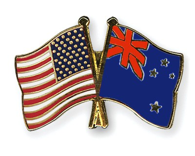 Crossed Flag Pins USA-New Zealand