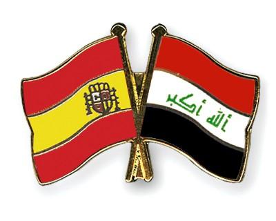 Crossed Flag Pins Spain-Iraq