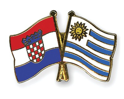 Crossed Flag Pins Croatia-Uruguay