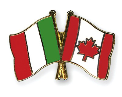 Crossed Flag Pins Italy-Canada