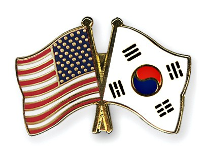 Special Offer Crossed Flag Pins USA-South Korea