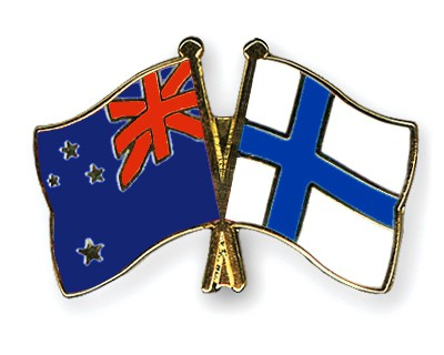 Special Offer Crossed Flag Pins New Zealand-Finland
