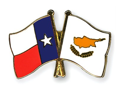 Crossed Flag Pins Texas-Cyprus