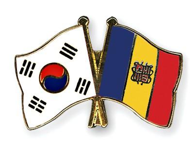Crossed Flag Pins South-Korea-Andorra