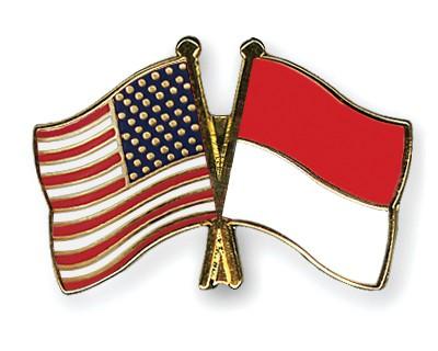 Crossed Flag Pins USA-Indonesia