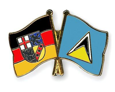 Crossed Flag Pins Saarland-Saint-Lucia