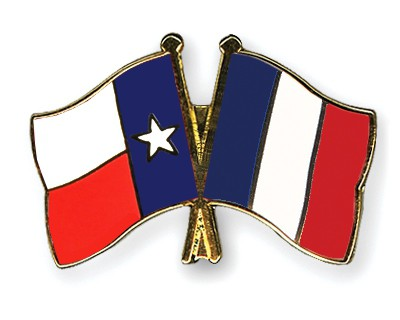 Crossed Flag Pins Texas-France