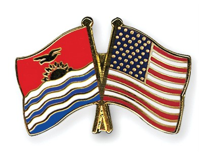 Crossed Flag Pins Kiribati-USA