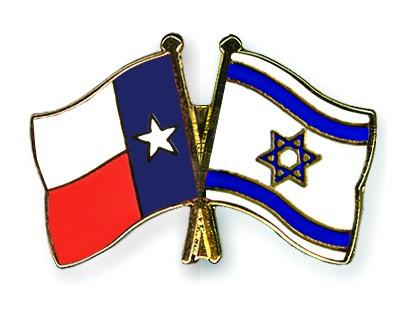 Crossed Flag Pins Texas-Israel