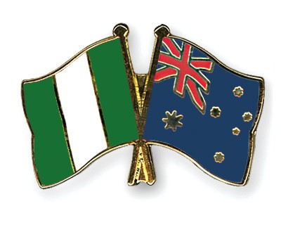 Crossed Flag Pins Nigeria-Australia