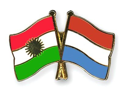 Crossed Flag Pins Kurdistan-Luxembourg