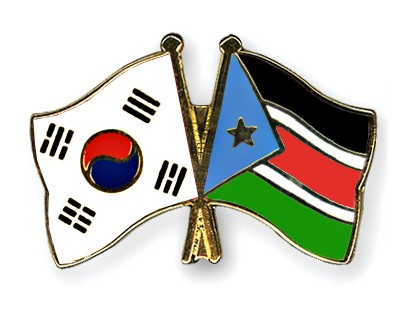 Crossed Flag Pins South-Korea-South-Sudan