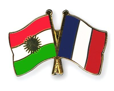 Crossed Flag Pins Kurdistan-France