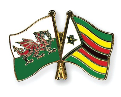 Crossed Flag Pins Wales-Zimbabwe