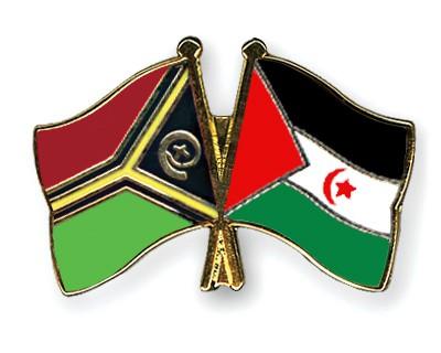 Crossed Flag Pins Vanuatu-Western-Sahara