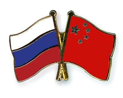 Crossed Flag Pins Russia-China