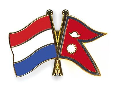 Crossed Flag Pins Netherlands-Nepal