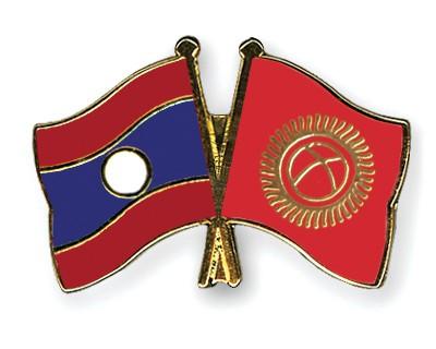 Crossed Flag Pins Laos-Kyrgyzstan