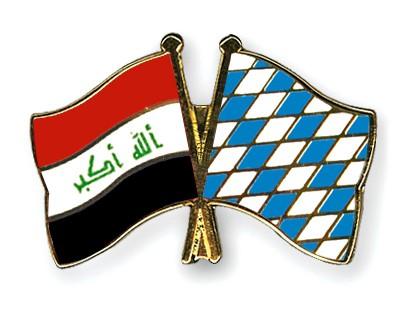 Crossed Flag Pins Iraq-Bavaria