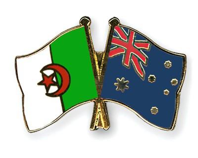 Crossed Flag Pins Algeria-Australia