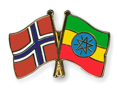 Crossed Flag Pins Norway-Ethiopia