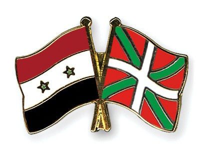 Crossed Flag Pins Syria-Basque-country