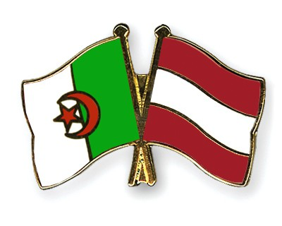Crossed Flag Pins Algeria-Austria