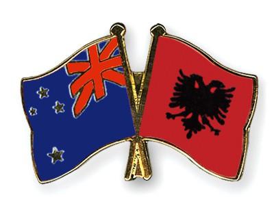 Crossed Flag Pins New-Zealand-Albania