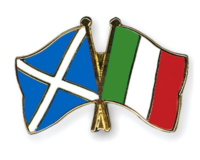 Special Offer Crossed Flag Pins Scotland-Italy