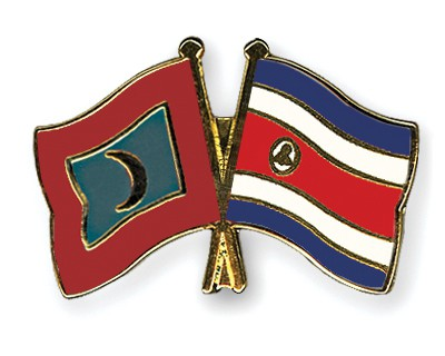 Crossed Flag Pins Maldives-Costa-Rica