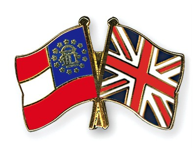 Crossed Flag Pins Georgia-Great-Britain