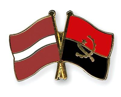 Crossed Flag Pins Latvia-Angola