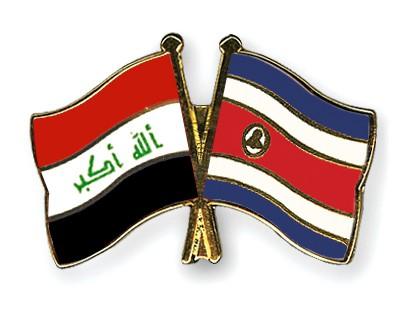 Crossed Flag Pins Iraq-Costa-Rica