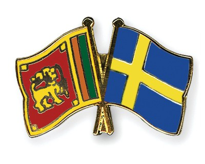 Crossed Flag Pins Sri-Lanka-Sweden