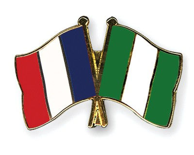 Crossed Flag Pins France-Nigeria