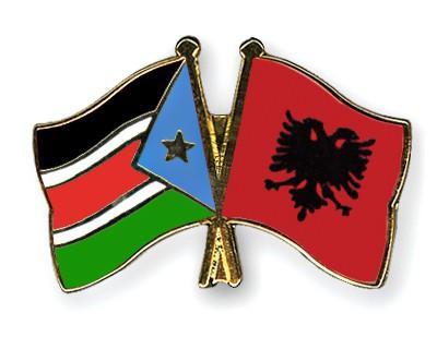 Crossed Flag Pins South-Sudan-Albania
