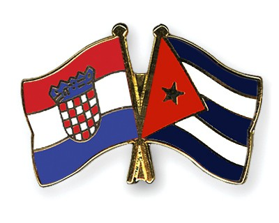Crossed Flag Pins Croatia-Cuba