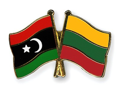 Crossed Flag Pins Libya-Lithuania