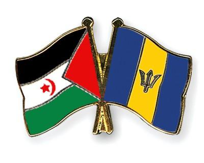 Crossed Flag Pins Western-Sahara-Barbados