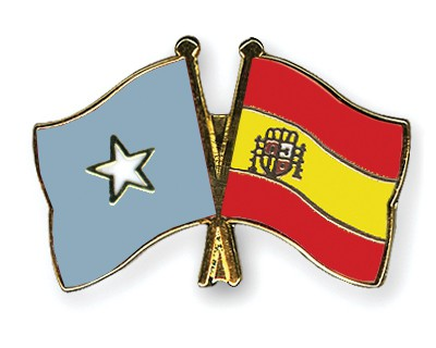 Crossed Flag Pins Somalia-Spain