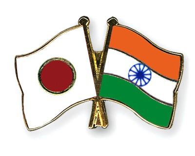Crossed Flag Pins Japan-India