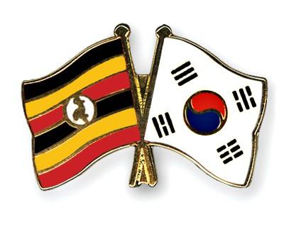 Crossed Flag Pins Uganda-South-Korea
