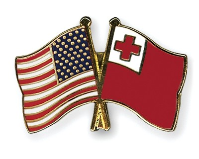 Special Offer Crossed Flag Pins USA-Tonga