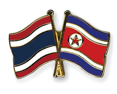 Crossed Flag Pins Thailand-North-Korea