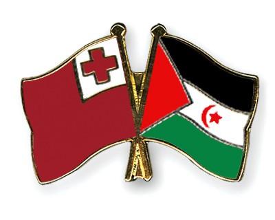 Crossed Flag Pins Tonga-Western-Sahara